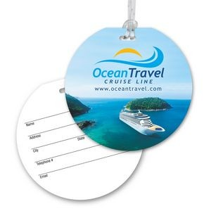 Ultra-Thin Round Luggage Tag with Clear Strap